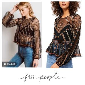 NWT Free People Give A Little Mesh Peplum Mesh Top
